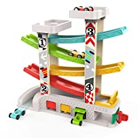TOP BRIGHT Car Ramp Toy for 1 2 3 Year Old Boy Gifts, Toddler Race Track Toy with...