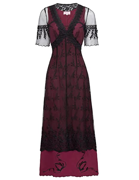 1900-1910s Clothing Belle Poque Steampunk Gothic Victorian Lace Maxi Dress Half Sleeve BP000247 $39.89 AT vintagedancer.com