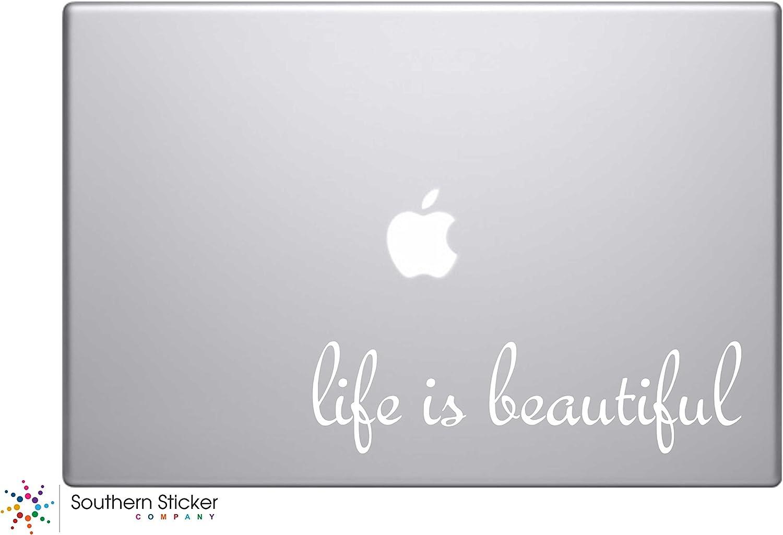 #3 Life Is Beautiful Text Vinyl Car Sticker Silhouette Keypad Track Pad Decal Laptop Skin Ipad Macbook Window Truck Motorcycle