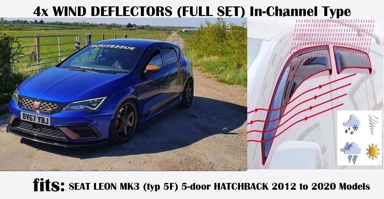 5 porte Hatchback 2012 2013 2014 2015 2016 2017 2018 2020 vetro acrilico TYP 5F OEMM Set di 4 deflettori daria tipo IN-CHANNEL compatibili con Seat Leon MK3