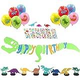 Dinosaur Happy Birthday Banner: 1 Dinosaur Roar Banner, 10 Dinosaur balloons, 6 Dinosaur Table Decor, 6 Dinosaur Stickers-Party Supplies Decoration Favors For Baby Shower Boys Room Kindergarten
