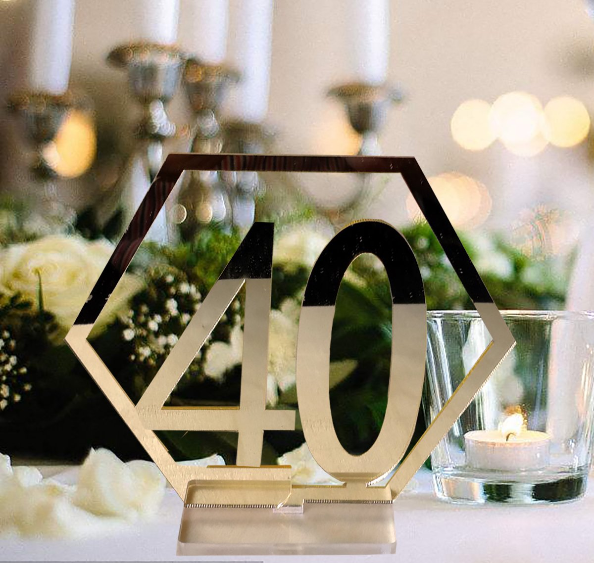 Fashionclubs Table Numbers, 1-40 Wedding Acrylic Table Numbers with Holder Base Party Card Table Holder,Hexagon Shape,Perfect for Wedding Reception and Decoration,Gold by Fashionclubs