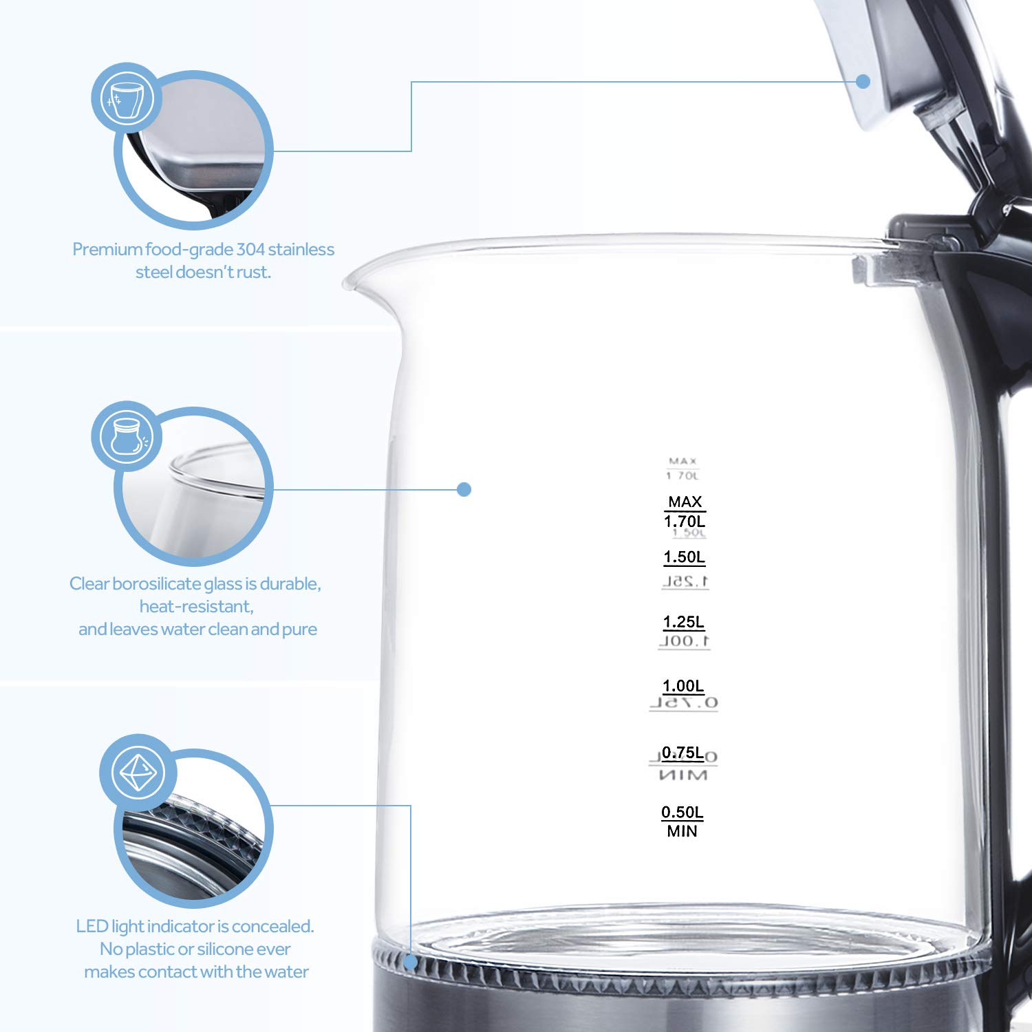 COSORI 1.7L Electric Kettle(BPA-Free), Cordless Glass Boiler,Coffee Pot,Water & Tea Heater with LED Indicator,Auto Shut-Off & Boil-Dry Protection,100% Stainless Steel Inner Lid & Bottom,1500W,CO171-GK by COSORI (Image #5)