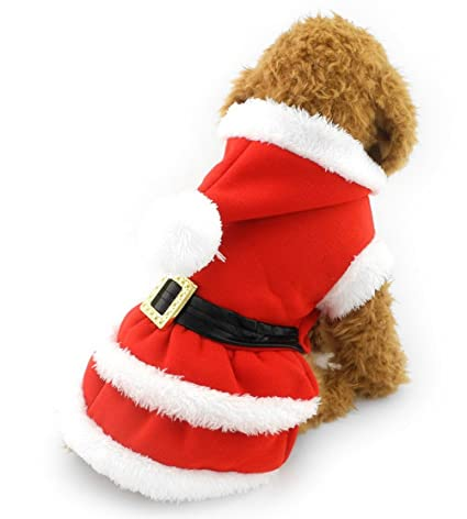 ZUNEA Hooded Puppy Santa Suit Dress,Small Dog Xmas Costume Pet Christmas  Sweater Fleece Hoodie - Amazon.com : ZUNEA Hooded Puppy Santa Suit Dress, Small Dog Xmas