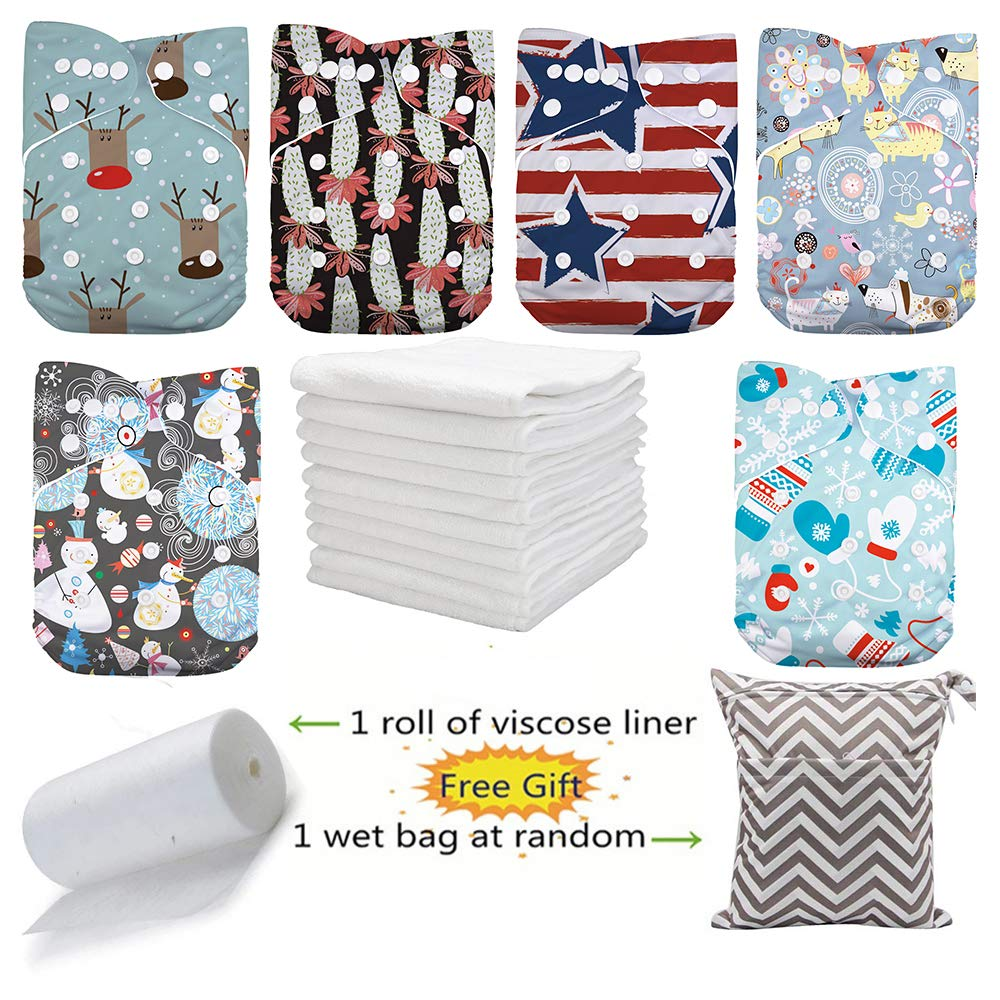 DoDo Bear Washable Reusable Pocket Baby Cloth Diapers 6pcs Cloth Diapers+6 Inserts 1 Roll Liners 1 Wet Bag color3