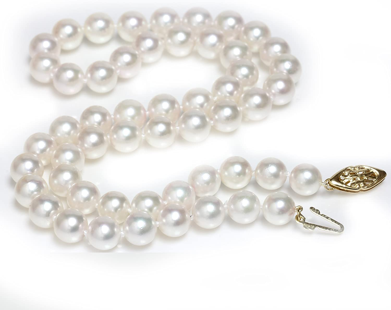Seven Seas Pearls 14k Gold Saltwater Cultured Akoya Pearl Necklace 8-7.5 MM AAA Hanadama Quality Princess Length