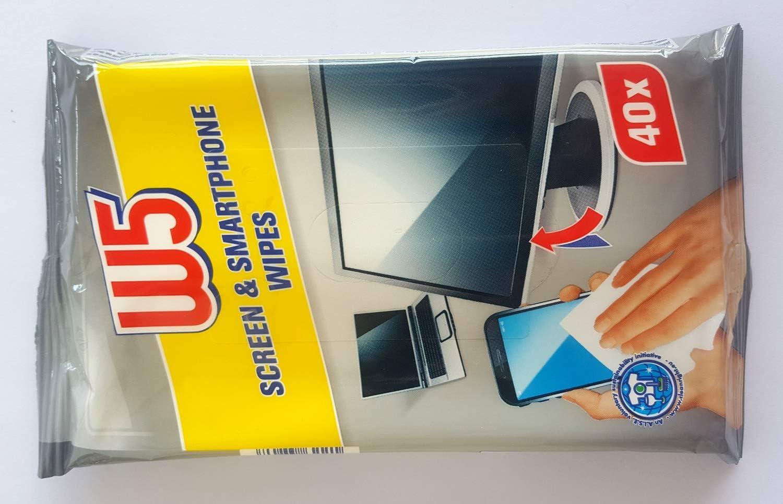 Toallitas limpiadoras de pantalla W5 aptas para limpiar pantallas de ordenador, monitores, televisores LCD, TFT, LED, Plasma – 1 paquete de 40 toallitas: Amazon.es: Salud y cuidado personal
