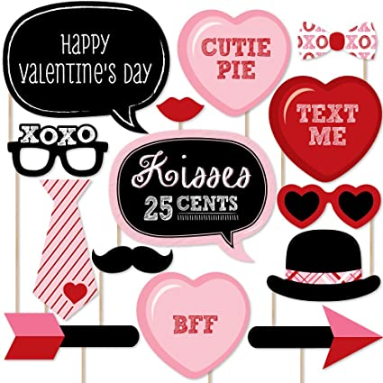 Amazoncom Big Dot Of Happiness Valentines Day Photo Booth Props