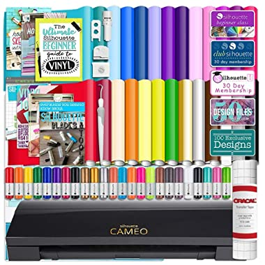 Silhouette Cameo 3 Limited Black Edition Bluetooth Starter Bundle with 26 Oracal Vinyl Sheets, Transfer Paper, Guide, Class, 24 Sketch Pens