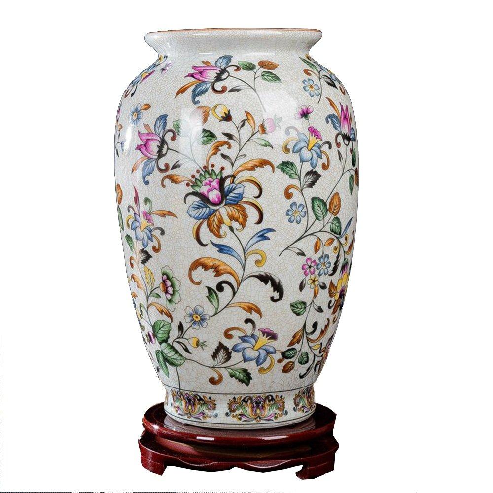 XIAOYAN セラミックの磁器の花瓶ヨーロッパの白い花の絵画のひびの入った居間の研究ベッドルームのホームデコレーションの工芸品 B07DYR9V23