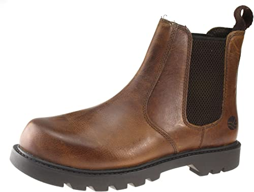 Oaktrak Mens Tan Brown Leather Rocksley pull on chelsea dealer boots 7 8 9 10 11