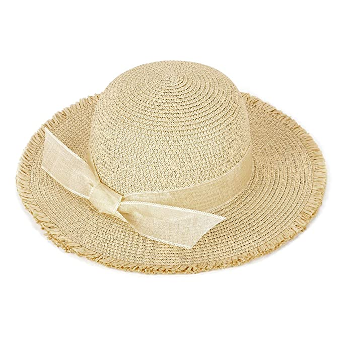7a8ca84f CHIC DIARY Women Sun Beach Hats Wide Brim Bowknot Straw Hat Floppy Foldable  Cap Sun Hat