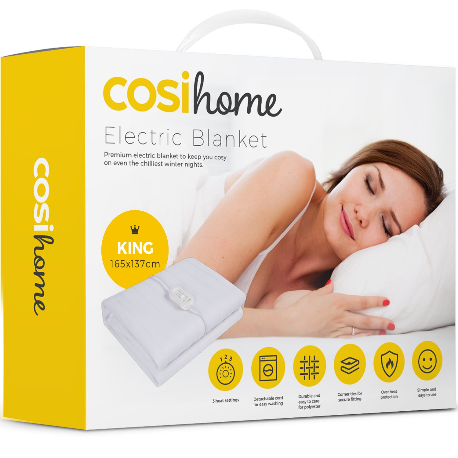 Premium Comfort Single Electric Blanket - Control with 3 Heat Settings, Polyester, White Cosi Home