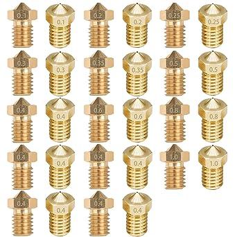 28 boquillas para impresora 3D, boquilla extrusora de 0,1 mm, 0,2 ...