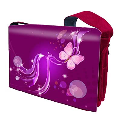 15 15.6 Inch Laptop Padded Compartment Messenger Bag - Purple Swirl Butterfly