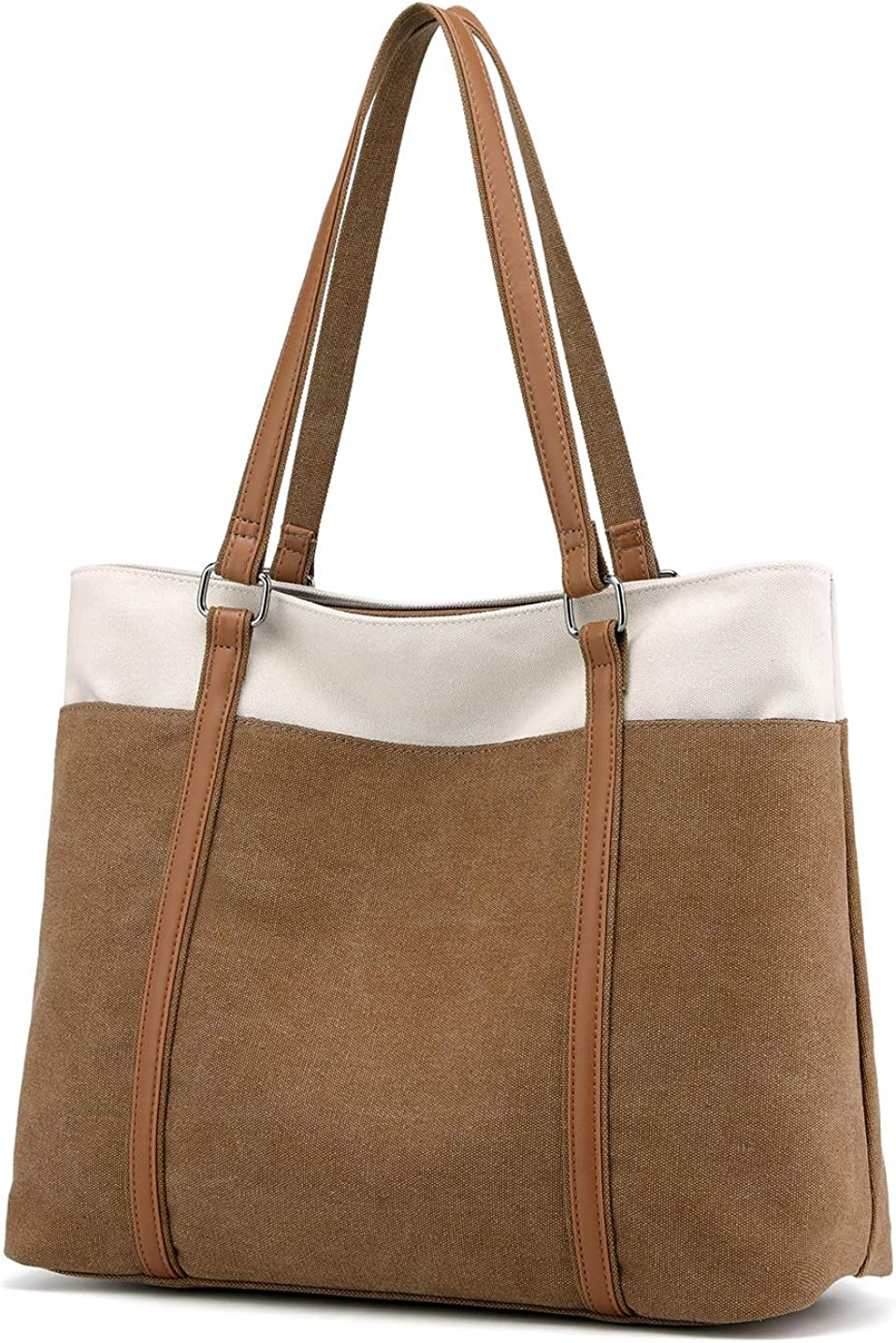 Wxnow Women Laptop Tote Bag Canvas Handbag Purse Shoulder Bag