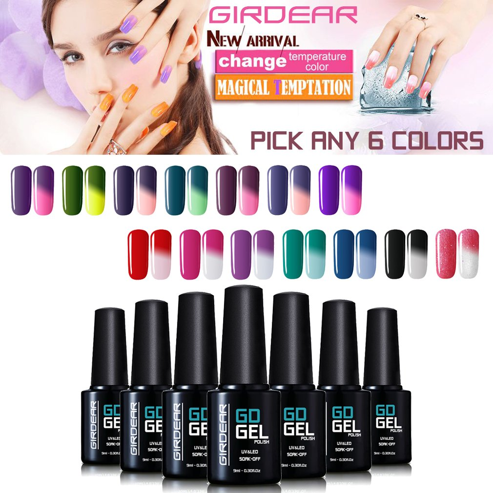 Gel Nail Polish, Girdear 8PCS UV LED Temperature Color Changing Gel Polish Soak Off Chameleon Nail Varnish Starter Kit 9ml