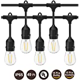 Amazon Price History:BRTLX Commercial Grade Outdoor Weatherproof S14 String Lights 49Ft for Patio Courtyard Porch Wedding
