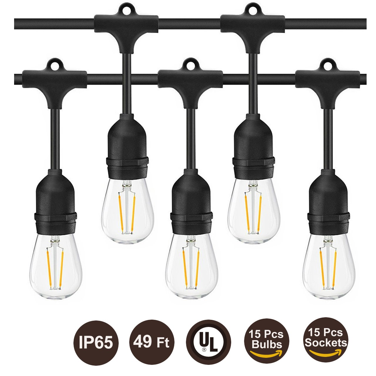 BRTLX Commercial Grade Outdoor Weatherproof S14 LED String Lights 49Ft with 15 Dropped Sockets 2W 15Pcs S14 LED Edison Filament Bulb Included for Patio Courtyard Porch Wedding