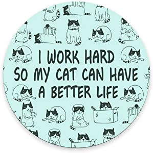 Round Mouse Pad Funny Cat Mousepad New Job Gift Office Decor Cat Mouse Pad Cat Lady Gift for Coworker Cubicle Decor Office Supplies Cute Fun - I Work Hard So My Cat Can Have A Better Life