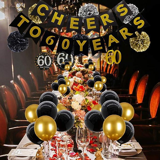 Amazon.com: Decoración de fiesta de 60 cumpleaños con texto ...