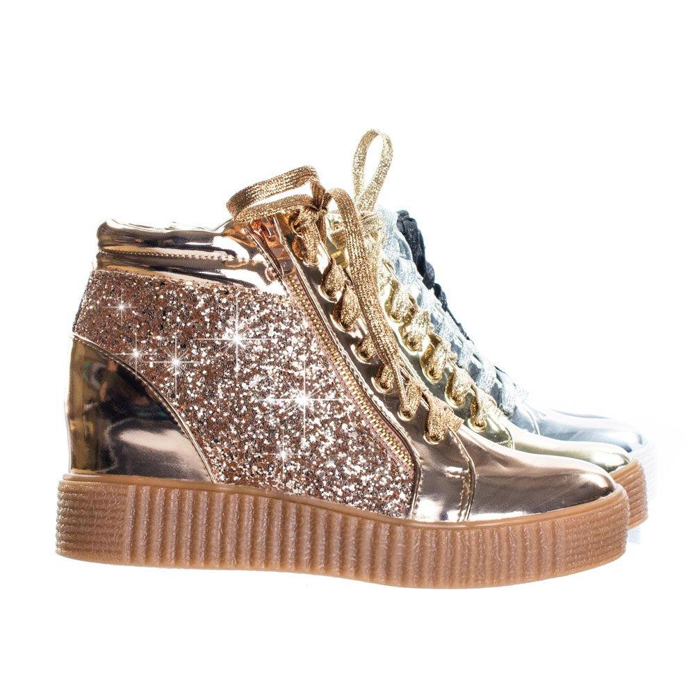 Forever Link Retro Glitter Oxford Lace Up Platform Wedge Creeper, Women Sneaker B078ZM7PCN 7.5 M US Rose Gold