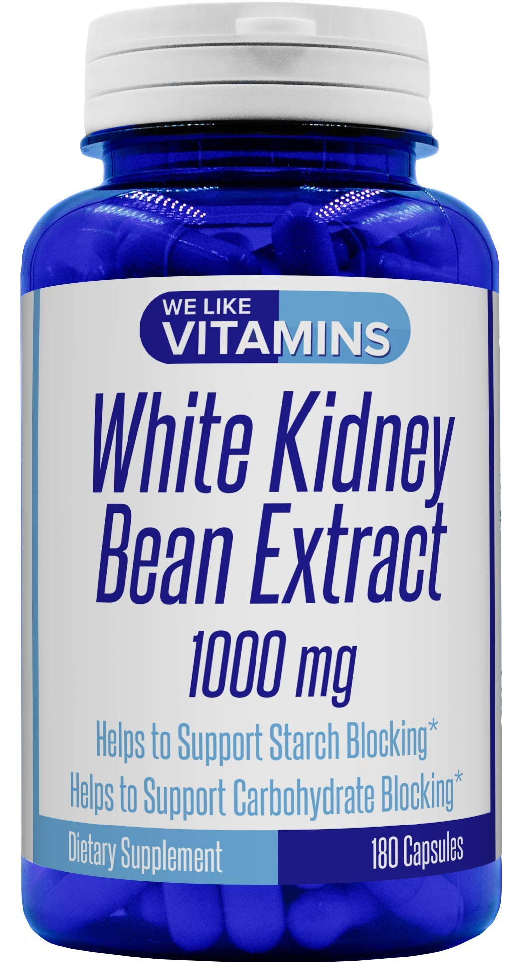 White Kidney Bean 1000mg - 180 Capsules (Non GMO & Gluten Free) - White Kidney Bean Supplement - Helps to Support Carbohydrate and Starch Blocking for Healthy Weight
