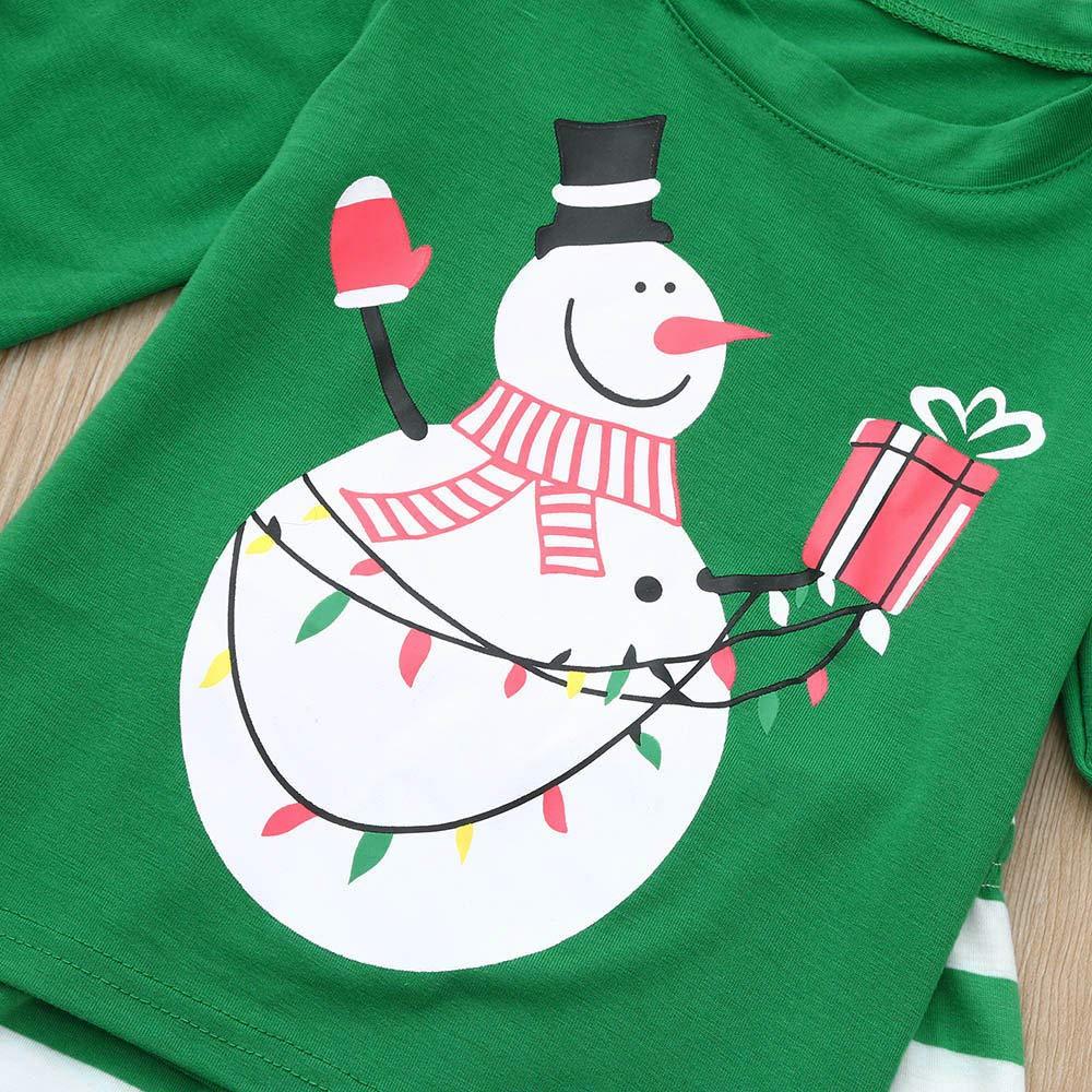 Kehen Family Matching Christmas Pajamas Set Xmas Snowmen Tops and Green Striped Pants Sleepwear for Family