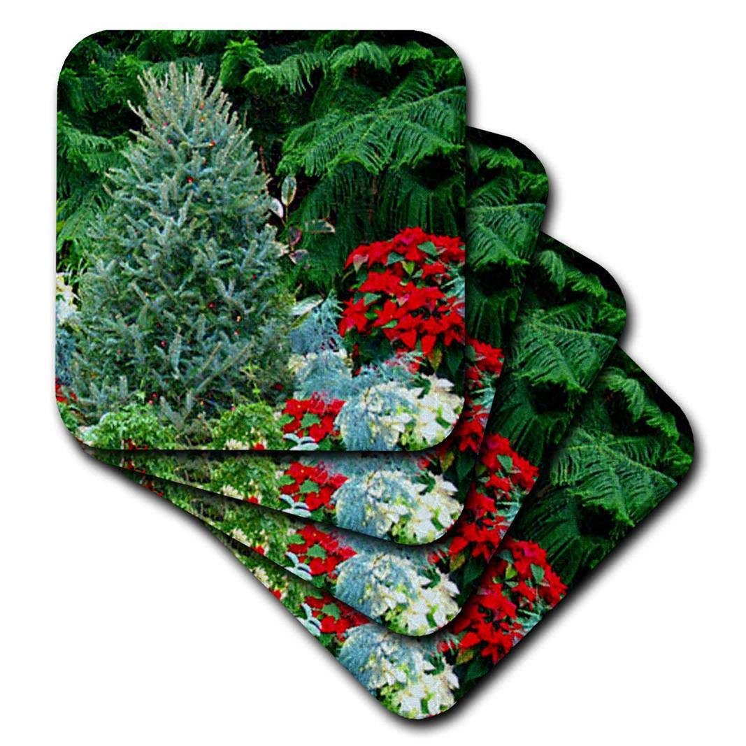 3drose Cst 8432 2 Christmas Tree Poinsettia Soft Coasters Set Of 8 Coasters Home Décor Accents
