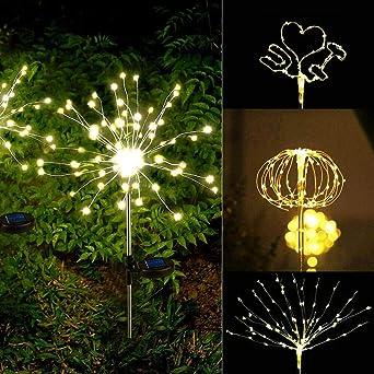 YAOUIHYD Jardín Luces Solares Fuegos Artificiales Paisaje De Navidad Camino Lámpara De Césped Exterior Impermeable Decoración De Jardín Luz Patio Patio Lámparas Led-120Led Blanco Cálido: Amazon.es: Iluminación