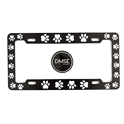 DMSE Animal Pet Dog Cat License Plate Frame For Your Car Automobile Easy Installation Durable Universal Fit (Black With White Paw): Automotive