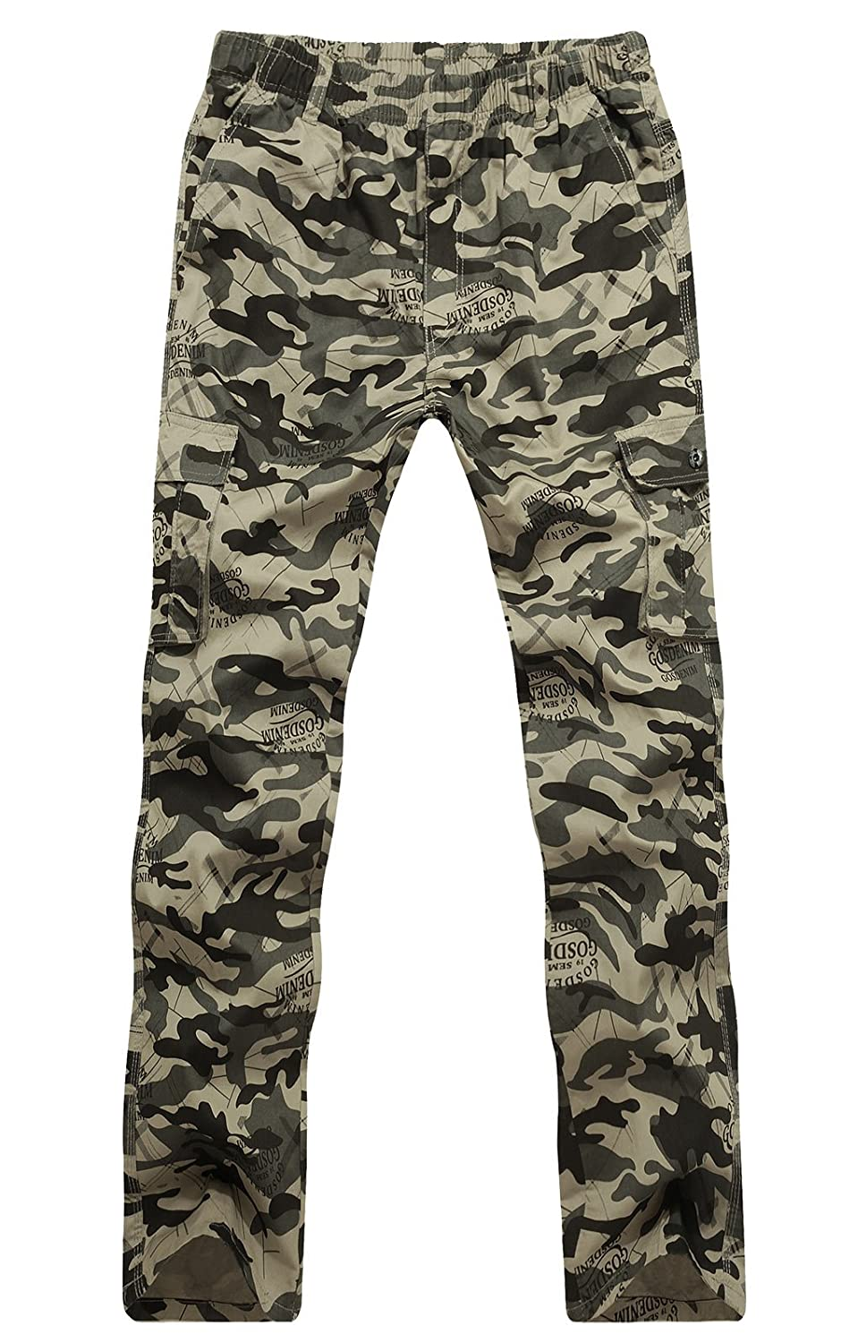 Men's Camo Relaxed Fit Straight Leg Wild Cargo Pants CardanWolf