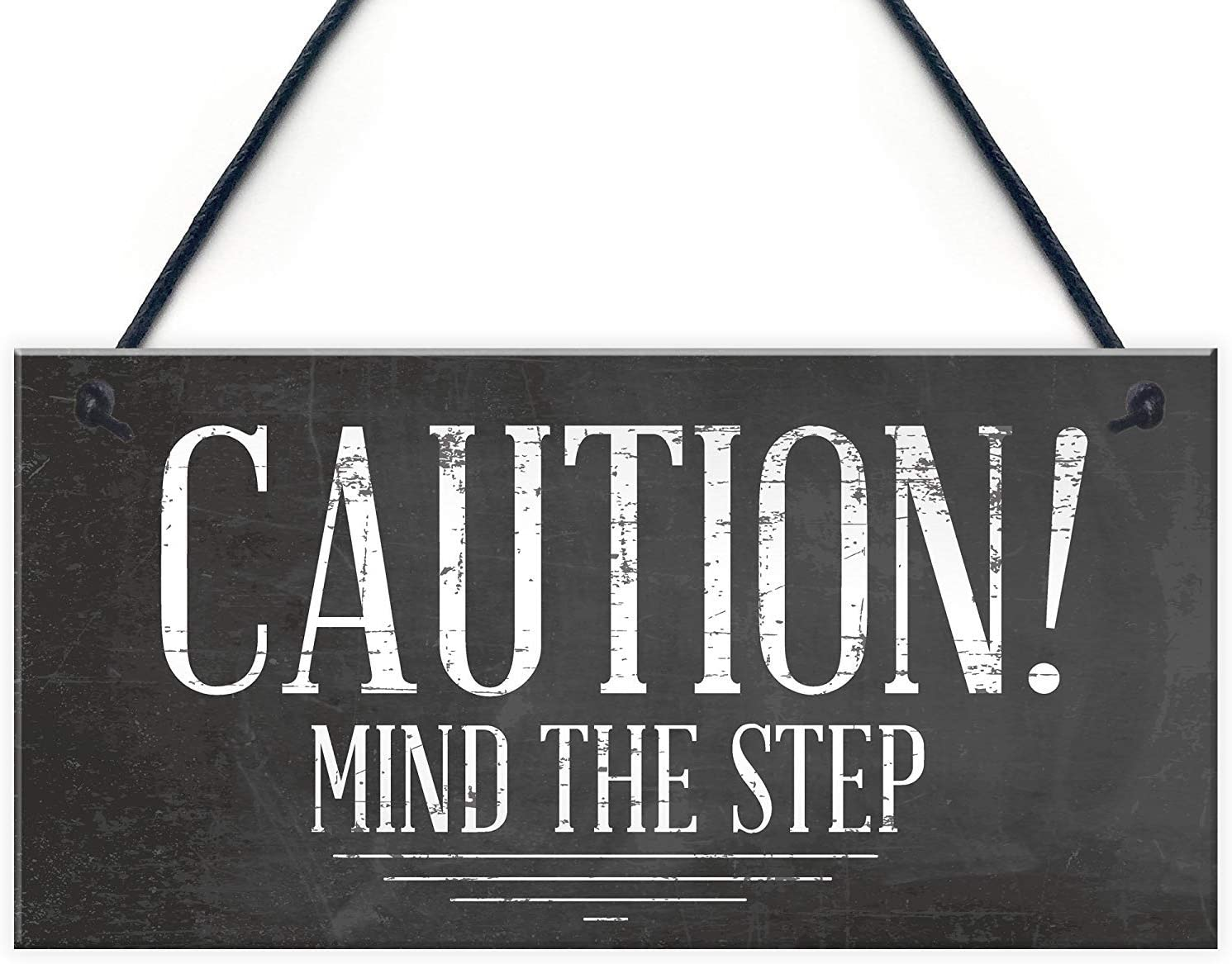 """Meijiafei Mind The Step Sign Warning Caution Health & Safety Hanging Door Wall Decor Sign Plaque 10"""" X 5"""""""
