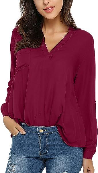 Style Dome Mujer Camiseta Camisa Blusa Mangas Largas Elegante Moda Oficina Casual Suelto con Tops Bolsillo Color Camisa Vino rojo-649686 2XL