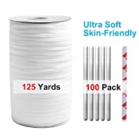 Elastic Band String 125 Yards (114 Meters) 1/4 Inch White and Nose Wire Strip(100pcs...