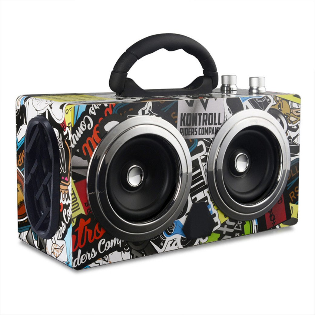Portable Wireless Speakers 20W Outdoor Rechargeable Bluetooth Speaker Wooden Graffiti Case with FM Radio - Super Bass Music Drive Player Support TF Card and U Disk.