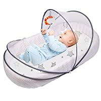 Lupantte Inflatable Baby Lounger Portable Baby Nest with Mosquito Net Breathable & Soft New Born Co-Sleeping for Crib, Bassinet Mattress, Traveling, Gift for Newborn.