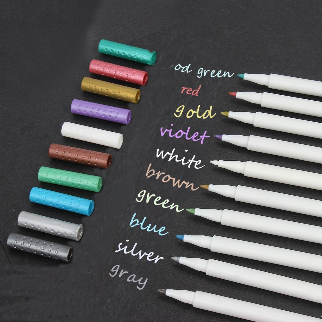 Set of 10 Colors DIY Photo Album Brush Tip Card Making Metallic Color Painting Pen for Rock Painting Script Lettering Mug Design Brush Mark pens,Calligraphy Brush Marker Pens