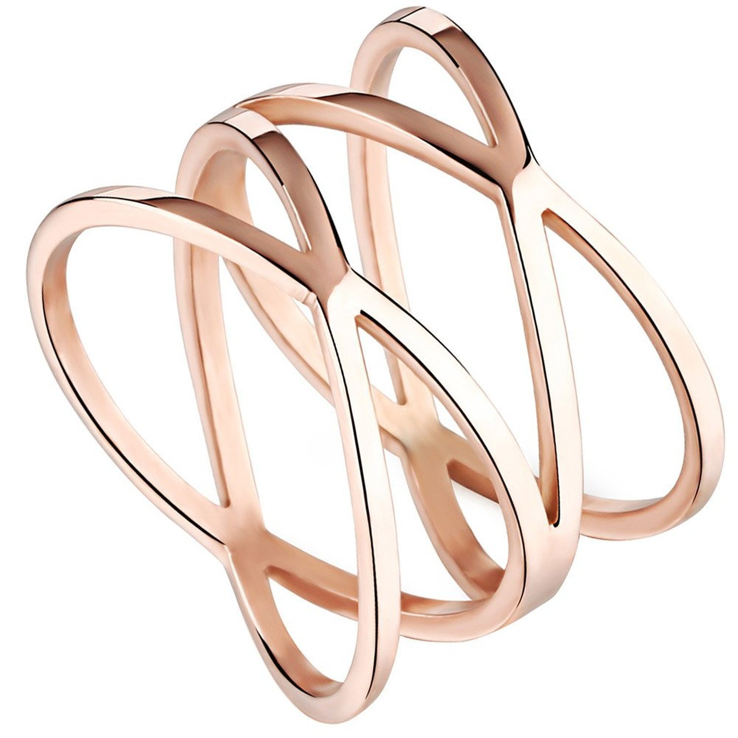 Womens 14MM Rose Gold Tone Stainless Steel Double X Criss Cross Infinity Ring Engagement Wedding Lady Girls Band Blowin