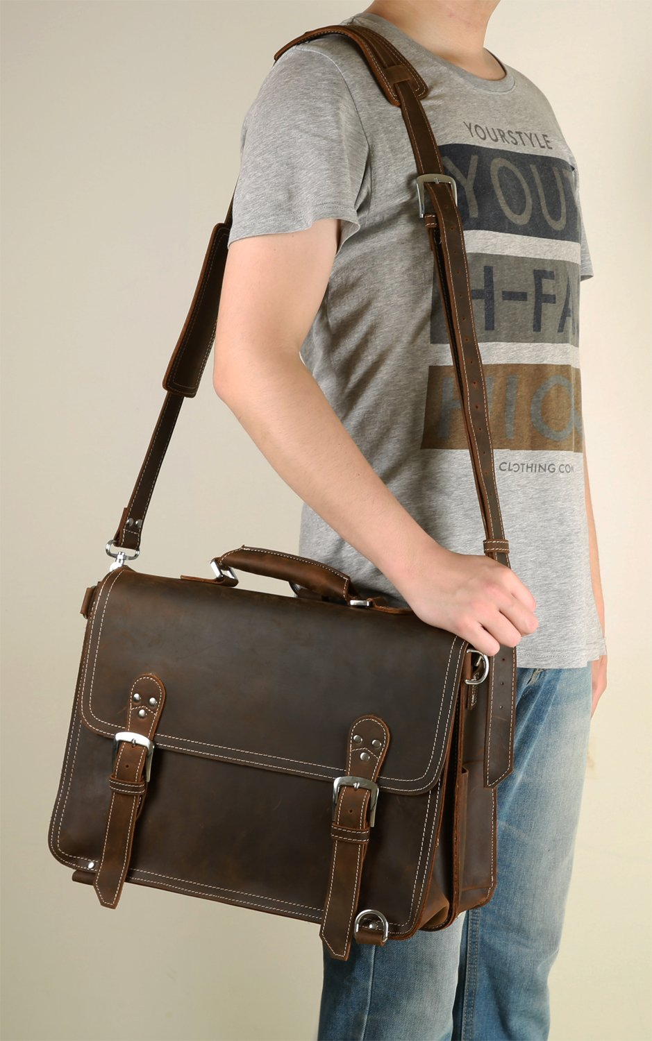 "Men's Messenger Bag Iswee Vintage Leather Briefcase for Men 14"" Laptop Bags Shoulder Handbags Backpack Christmas Gift (Dark Brown)"