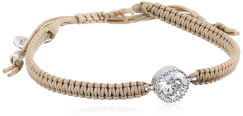 33f0fd343c Amazon.com  Tai Swarovski Crystal Hand Braided Beige Adjustable Cord  Bracelet  Wrap Bracelets  Jewelry
