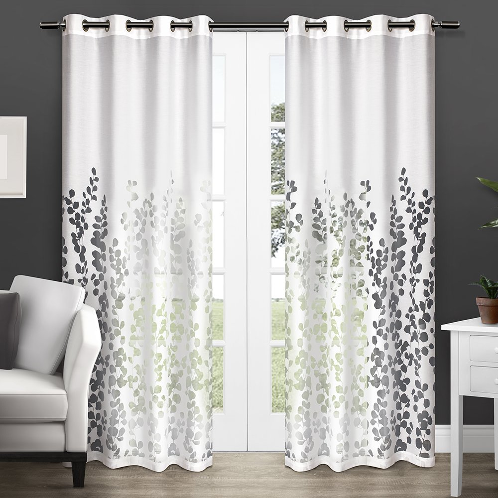 amazoncom exclusive home curtains wilshire burnout sheer grommet top window curtain panel pair winter white 54x84 home u0026 kitchen