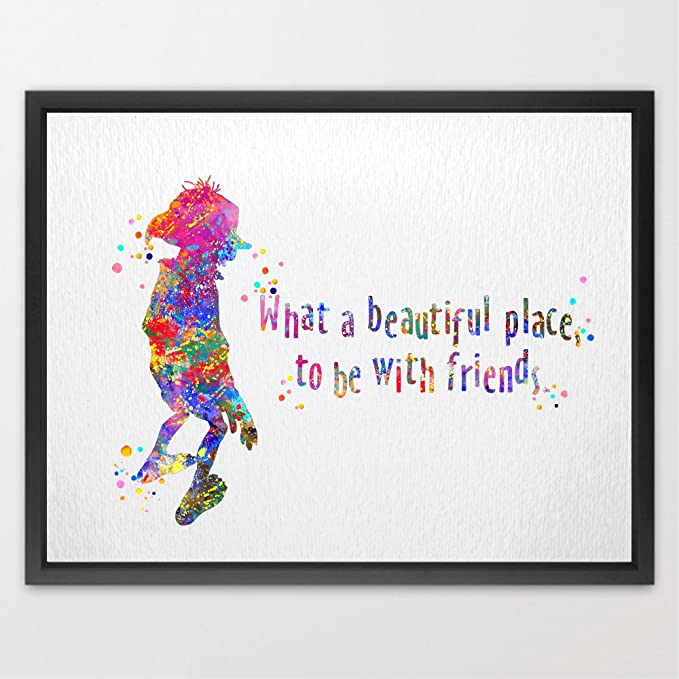 Dignovel Studios 8X10 What a Beautiful Place to Be with Friends Watercolor Illustration Art Print Friendship Quotes Nursery Decor Kids Art Print Wedding Birthday Gift N078