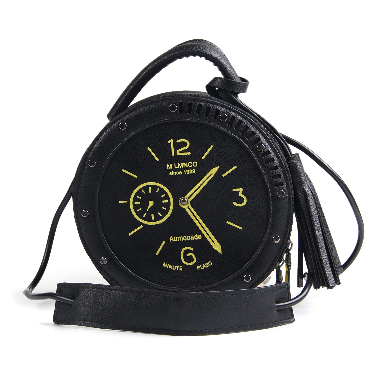 ed27ed7ac6f7 Women Cute PU Clock Radio Shape Tassel Crossbody Purse Zippered Tote  Handbag Satchels Single Shoulder Bags