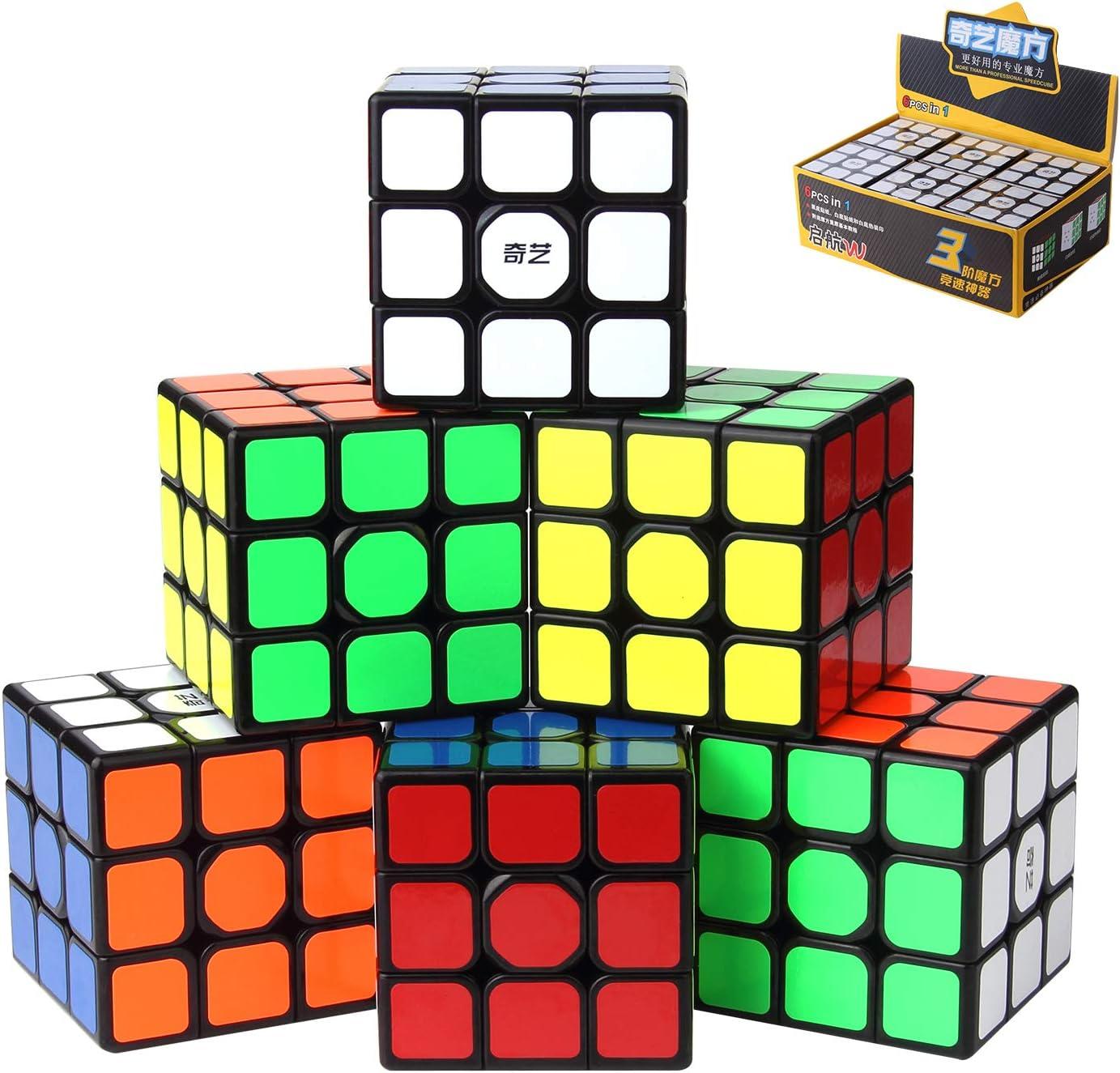 ROXENDA QIYI Qihang W Speed Cube, [Paquete de 6] 3x3x3 Juego de Cubo Mágico de Tamaño Completo de 56 mm, Easy Couring y Smooth Play Speed Cube, Juegos IQ para Niños y Adultos de Todas Las Edades