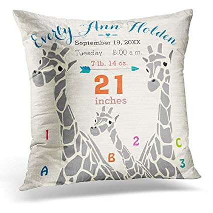 Amazon Throw Pillow Cover Gray Nursery Giraffe Baby Girl Birth Delectable Baby Girl Decorative Pillows