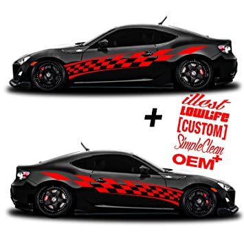 Amazoncom SG MOTIV Vinyl Body Side Graphics Racing Flag Stripes - Custom car body decals