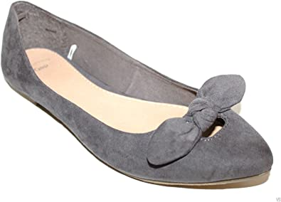 Gray Faux Suede Ballet Flats with