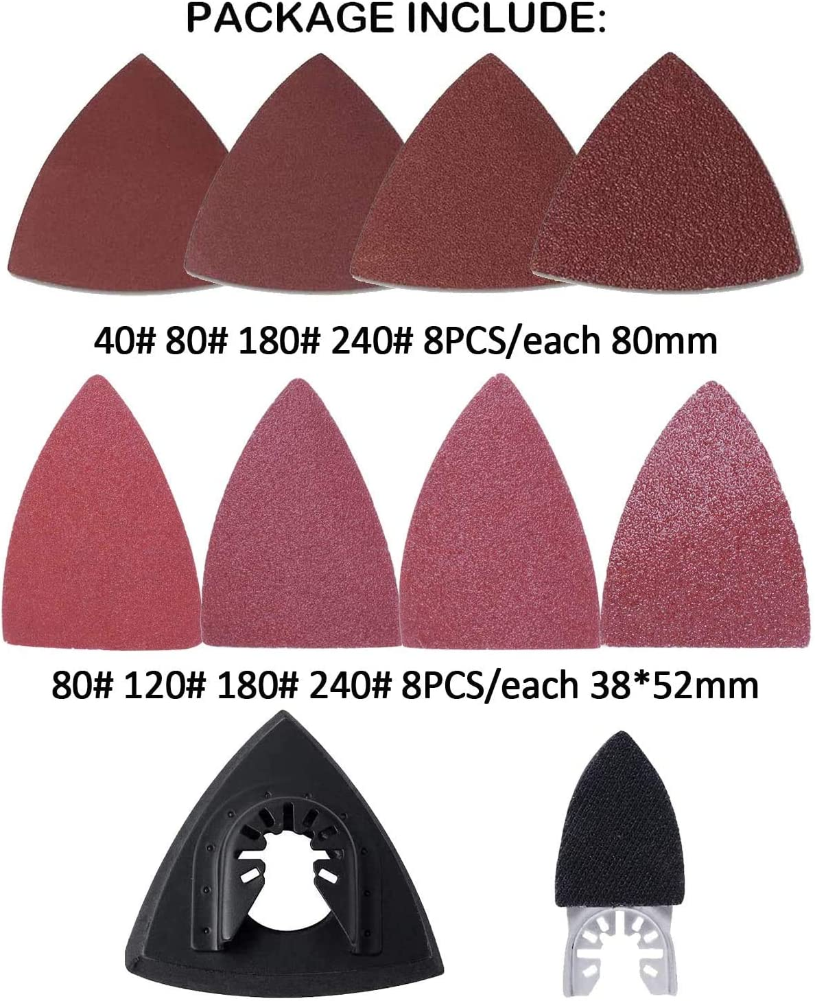 Kit de Lijado Triangulares Compatibles con Bosch Dewalt Fein Dremel Makita Milwaukee Porter Cable Ridgid Ryobi Rockwell Por Poweka