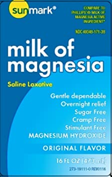 Amazon.com: sunmark - Milk of Magnesia - Original Flavor - Liquid - 16 oz. - Magnesium Hydroxide: Health & Personal Care